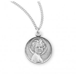 "Sterling Silver ""Light of the World"" Round Infant Jesus Medal"