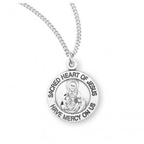 Sterling Silver Scapular Sacred Heart of Jesus  Medal