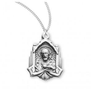 Sterling Silver Scapular Sacred Heart Of Jesus