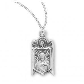 Sterling Scapular Heart of Jesus Medal