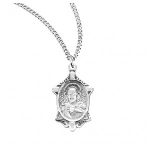 Sacred Heart of Jesus Sterling Silver Scapular Medal