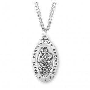 Saint Christopher Oval Saint Christopher Sterling Silver Medal