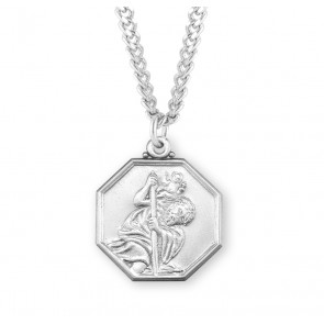 Saint Christopher Octagon Sterling Silver Medal