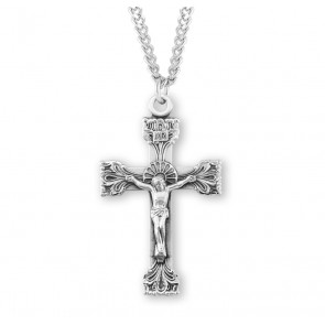 Extended Leaf Etched Sterling Silver Crucifix