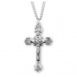 "1 11/16"" Sterling Silver Crucifix with 24"" Chain"
