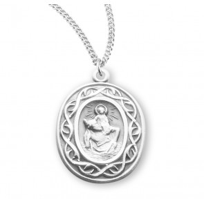 """Saint Christopher Oval Sterling Silver """"Crown of Thorns"""" Medal"""