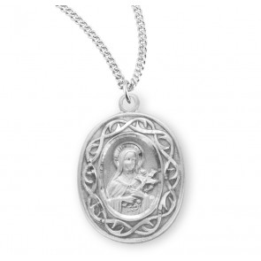 "Saint Therese of Lisieux Oval Sterling Silver ""Crown of Thorns"" Medal"