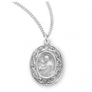 """Saint Anthony Oval Sterling Silver """"Crown of Thorns"""" Medal"""