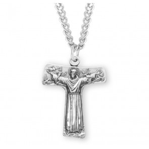 """Saint Francis of Assisi """"Tau"""" Sterling Silver Cross Medal"""