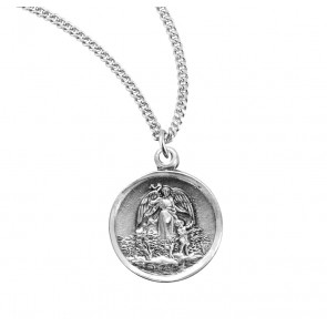 "5/8"" Sterling Silver Guardian Angel Medal with 18"" Chain"