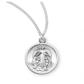 Guardian Angel Round Sterling Silver Medal