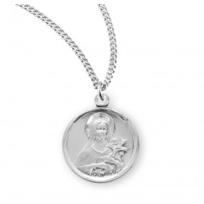 Saint Therese of Lisieux Round Sterling Silver Medal