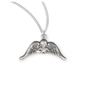 "1/2"" Sterling Silver Angel with Wings Medal on an 18"" Chain, Boxed"