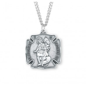 "1 1/16"" Sterling Silver St. Florian Medal with 24"" Chain"