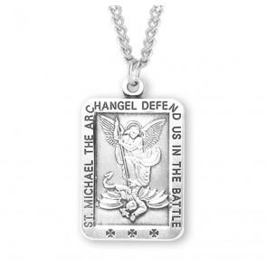 Saint Michael Rectangle Sterling Silver Medal