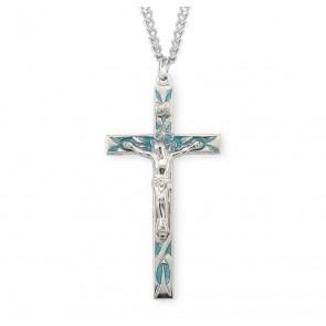 High Polished Blue Enameled Sterling Silver Crucifix