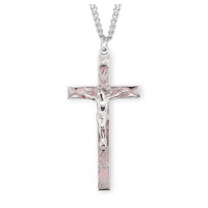 High Polished Pink Enameled Sterling Silver Crucifix