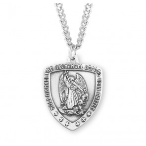 Saint  Michael Sterling Silver Shield Medal