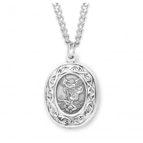 """Saint Michael Oval Sterling Silver """"Crown of Thorns"""" Medal"""