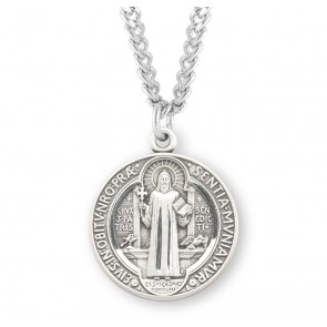 Saint Benedict Round Sterling Silver Medal