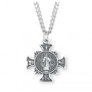 "1"" Sterling Silver St. Benedict Cross Medal with 24"" Chain"