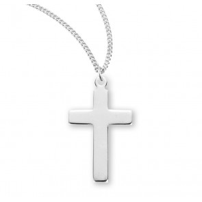 "7/8"" Sterling Silver Plain Cross with 18"" Chain"