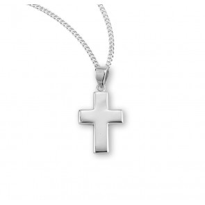 "1"" Sterling Silver Wide Plain Cross with 18"" Chain"