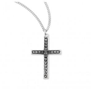 Engraved Leaf Design Sterling Silver Cross