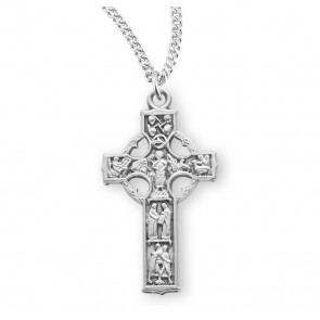 "1 1/8"" Sterling Silver Celtic Cross with 18"" Chain"