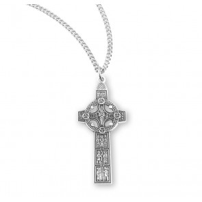 "1 1/2"" Sterling Silver Celtic Cross with 18"" Chain"