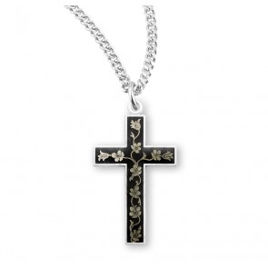 Black Enameled Sterling Silver Cross