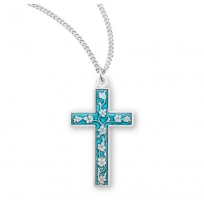 Blue Enameled Sterling Silver Cross