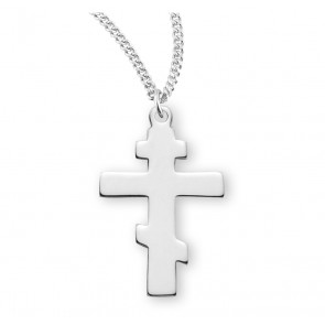 "15/16"" Sterling Silver Byzantine Cross with 18"" Chain"