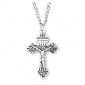 "2 1/8"" Sterling Silver ""Pardon"" Crucifix with 24"" Chain"