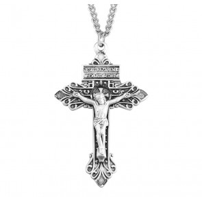 "2"" Sterling Silver Pardon Crucifix with 24"" Chain"