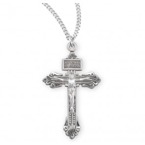 "1-1/4"" Sterling Silver Pardon Crucifix on a 24"" Chain, Boxed"