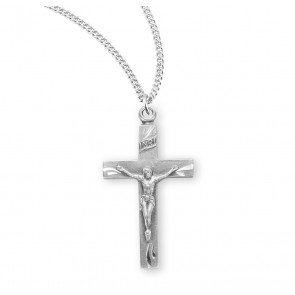 Basic Engraved Sterling Silver Crucifix
