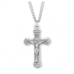 Intricate Lined Sterling Silver Crucifix