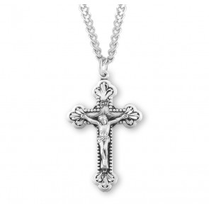 Sterling Silver Baroque Leaf Design Crucifix