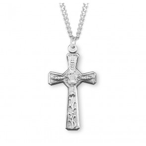 "1-5/8"" Sterling Silver Eucharist Cross on a  24"" Chain, Boxed"