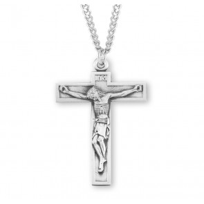 Short Top Sterling Silver Crucifix