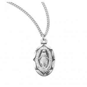 Sterling Silver Scalloped Oval Miraculous Medal