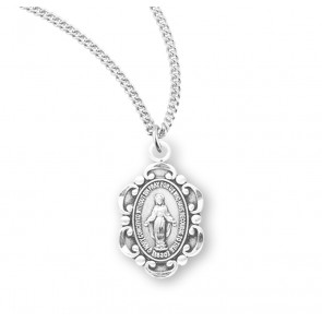 Sterling Silver Oval Fancy Edge Miraculous Medal