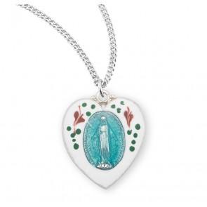 Sterling Silver Flower Enameled Heart Shaped Miraculous Medal
