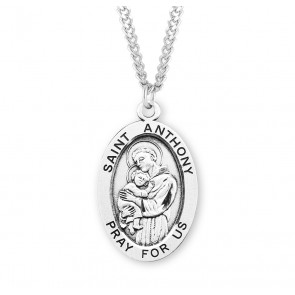 Patron Saint Anthony Oval Sterling Silver Medal
