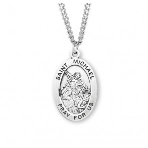 Patron Saint Michael Oval Sterling Silver Medal