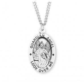 Guardian Angel Oval Sterling Silver Medal