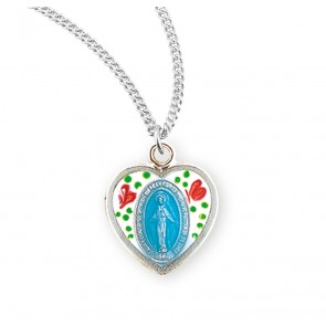 Sterling Silver Flower Enameled Heart Shaped Miraculous Medal