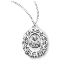 Sterling Silver Scapular Medal with Swarovski Crystals