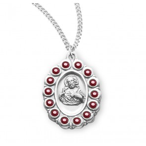 Sterling Silver Scapular Medal with Swarovski Ruby Crystals